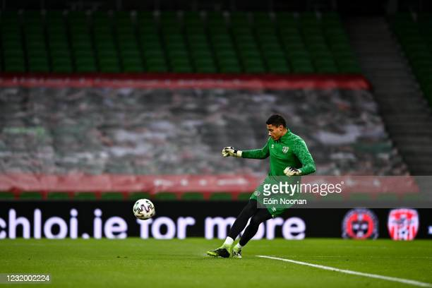 Dublin , Ireland - 27 March 2021; Gavin Bazunu prior to the FIFA World Cup 2022 qualifying group A match between Republic of Ireland and Luxembourg...