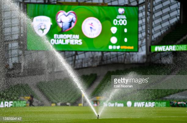 Dublin , Ireland - 27 March 2021; General view of the Aviva Stadium prior to the FIFA World Cup 2022 qualifying group A match between Republic of...