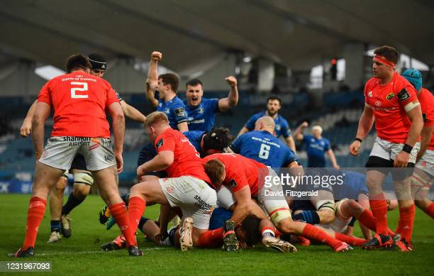 Dublin , Ireland - 27 March 2021; Jack Conan of Leinster scores his side's first try during the Guinness PRO14 Final match between Leinster and...