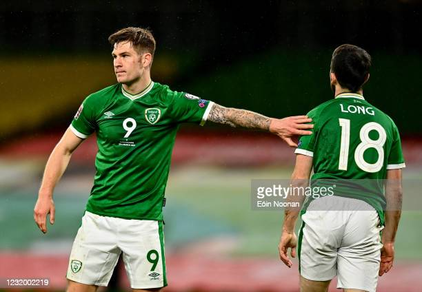 Dublin , Ireland - 27 March 2021; James Collins of Republic of Ireland wih team-mate Shane Long during the FIFA World Cup 2022 qualifying group A...