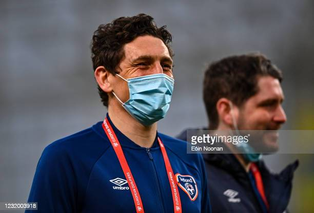 Dublin , Ireland - 27 March 2021; Republic of Ireland coach Keith Andrews prior to the FIFA World Cup 2022 qualifying group A match between Republic...