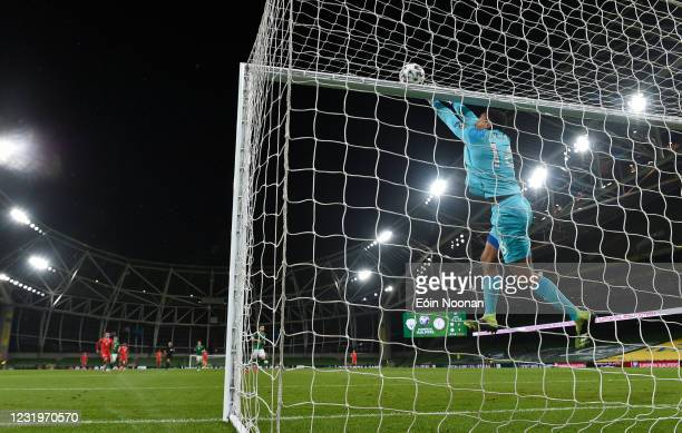 Dublin , Ireland - 27 March 2021; Republic of Ireland goalkeeper Gavin Bazunu saves from Gerson Rodrigues of Luxembourg, not pictured, during the...