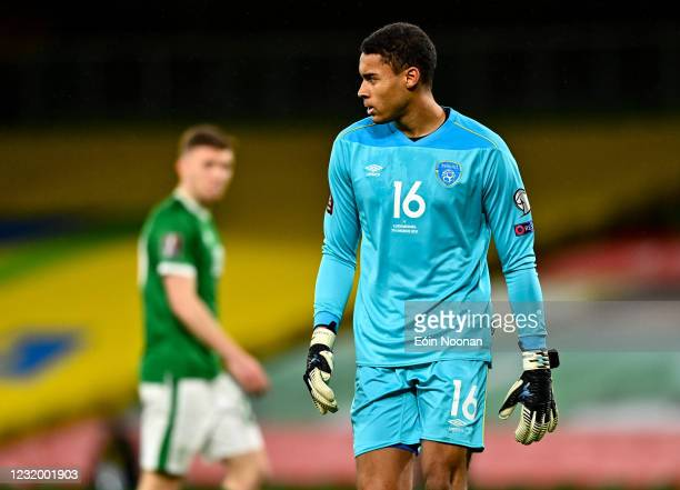 Dublin , Ireland - 27 March 2021; Republic of Ireland goalkeeper Gavin Bazunu during the FIFA World Cup 2022 qualifying group A match between...