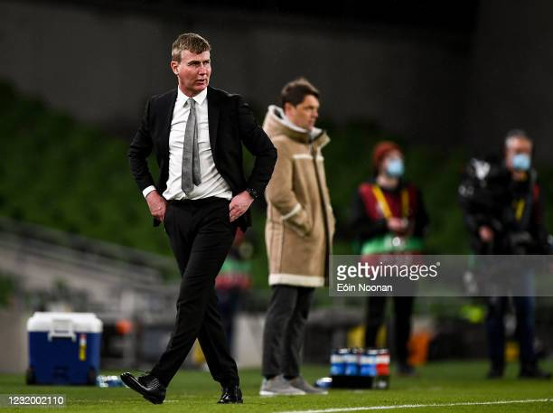 Dublin , Ireland - 27 March 2021; Republic of Ireland manager Stephen Kenny during the FIFA World Cup 2022 qualifying group A match between Republic...