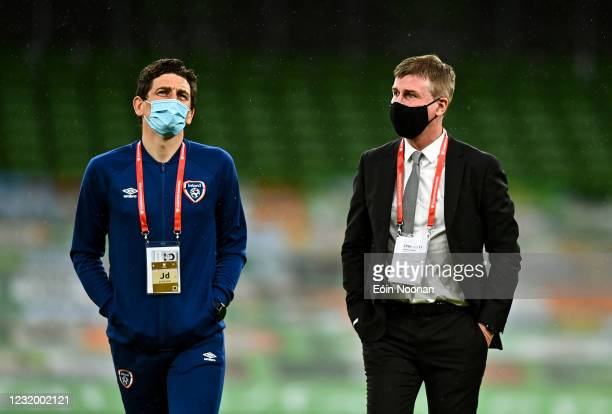 Dublin , Ireland - 27 March 2021; Republic of Ireland manager Stephen Kenny, right, with coach Keith Andrews during the FIFA World Cup 2022...