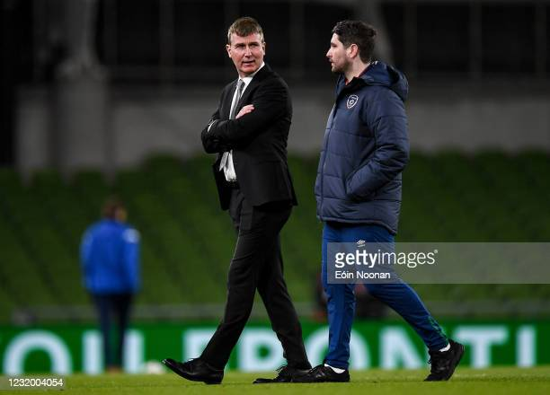 Dublin , Ireland - 27 March 2021; Republic of Ireland manager Stephen Kenny, left, with Ruaidhri Higgins, Republic of Ireland chief scout and...