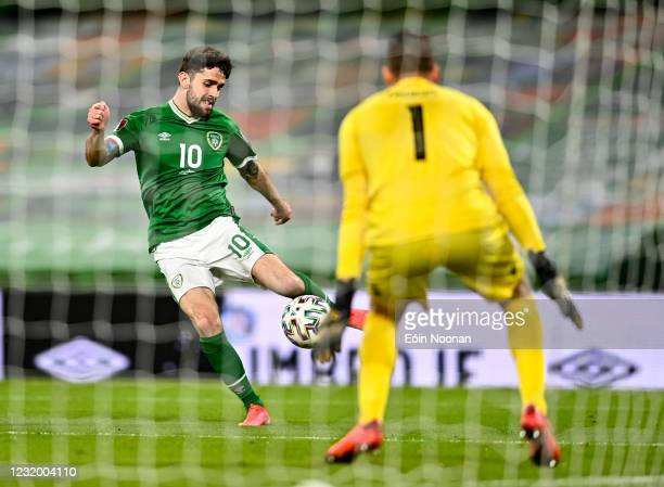 Dublin , Ireland - 27 March 2021; Robbie Brady of Republic of Ireland during the FIFA World Cup 2022 qualifying group A match between Republic of...
