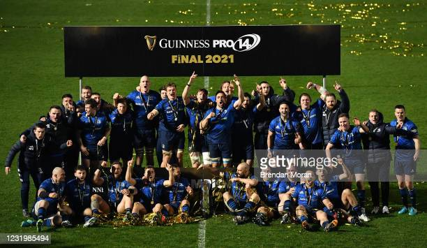 Dublin , Ireland - 27 March 2021; The Leinster team celebrate with the PRO14 trophy after the Guinness PRO14 Final match between Leinster and Munster...