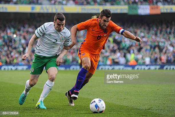 Dublin Ireland 27 May 2016 Seamus Coleman of Republic of Ireland in action against Kevin Strootman of Netherlands during the 3 International Friendly...