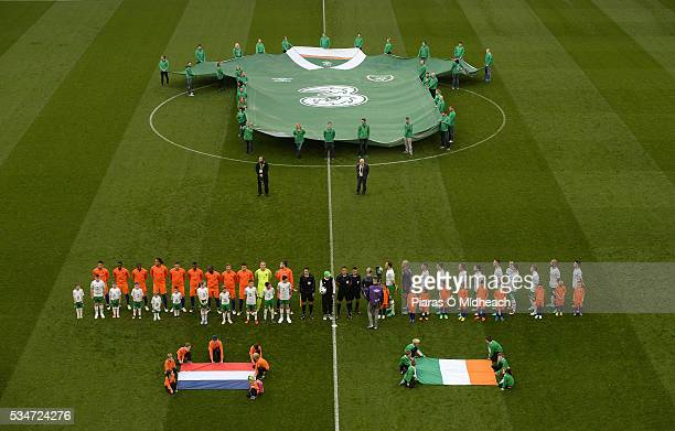Dublin Ireland 27 May 2016 The Republic of Ireland and Netherlands teams stand for the national anthems before the 3 International Friendly between...
