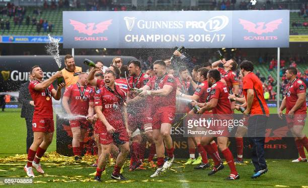 Dublin , Ireland - 27 May 2017; Scarlets players celebrate following the Guinness PRO12 Final between Munster and Scarlets at the Aviva Stadium in...