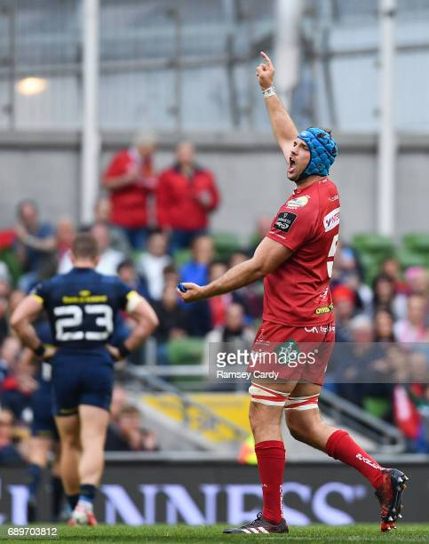 Dublin , Ireland - 27 May 2017; Tadhg Beirne of Scarlets celebrates a last minute try during the Guinness PRO12 Final between Munster and Scarlets at...