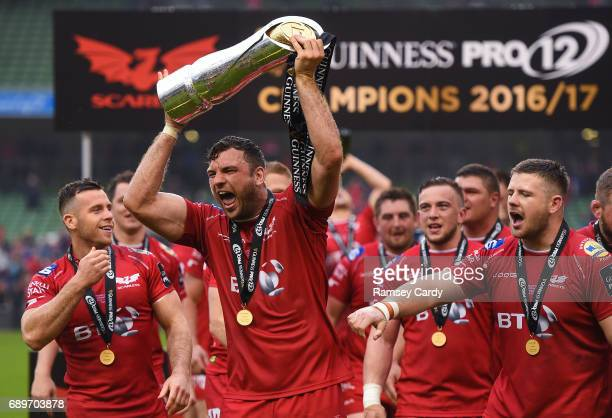 Dublin Ireland 27 May 2017 Tadhg Beirne of Scarlets celebrates following the Guinness PRO12 Final between Munster and Scarlets at the Aviva Stadium...
