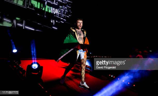 Dublin , Ireland - 27 September 2019; James Gallagher enters the arena prior to his contract weight bout against Roman Salazar at Bellator Dublin in...