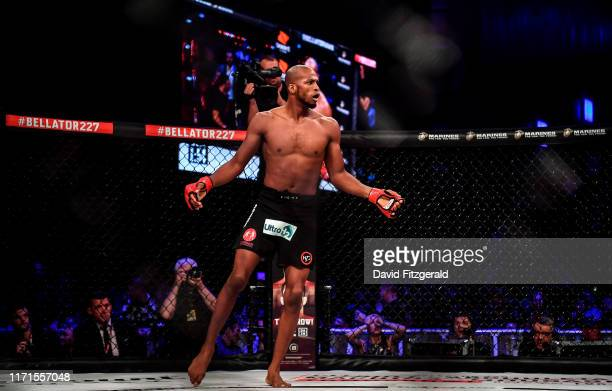 Dublin , Ireland - 27 September 2019; Michael Page celebrates after defeating Richard Kiely following their welterweight bout at Bellator Dublin in...