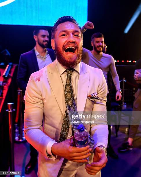 Dublin Ireland 27 September 2019 UFC fighter Conor McGregor celebrates after teammate Peter Queally was declared victorious over Ryan Scope in their...