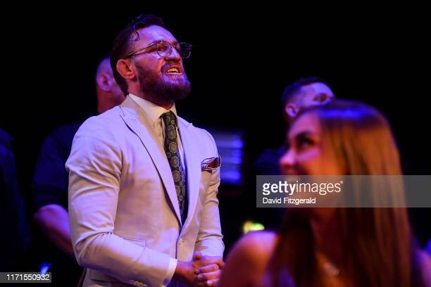 Dublin Ireland 27 September 2019 UFC fighter Conor McGregor watches his teammate Kiefer Crosbie fight at Bellator 227 in the 3Arena Dublin