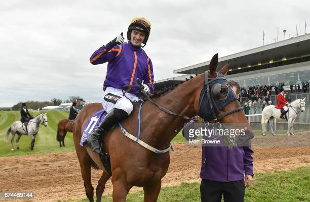 Dublin Ireland 28 April 2017 Patrick Mullins on Wicklow Brave after winning the BETDAQ Punchestown Champion Handicap at Punchestown Racecourse in...
