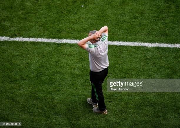 Dublin , Ireland - 28 August 2021; Kerry manager Peter Keane reacts during the GAA Football All-Ireland Senior Championship semi-final match between...