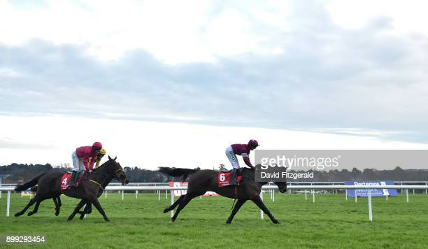 Dublin Ireland 28 December 2017 Eventual winner Snow Falcon with Sean Flanagan up right on their first time round during the Midland Legal Solicitors...