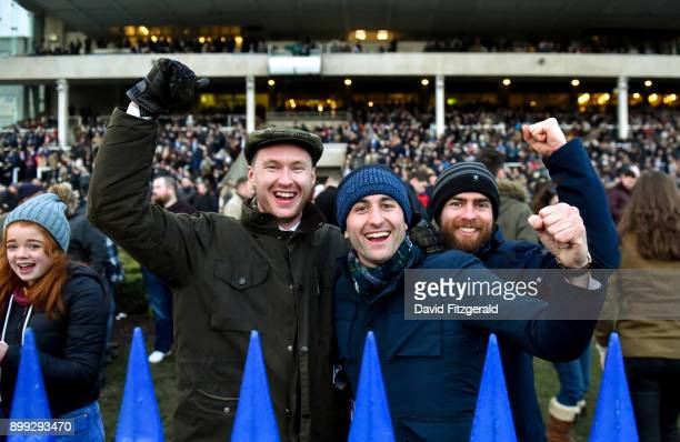 Dublin Ireland 28 December 2017 Racegoers celebrate after Snow Falcon with Sean Flanagan up won the Midland Legal Solicitors Beginners Steeplechase...