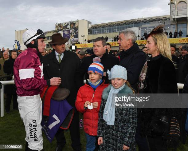 Dublin Ireland 28 December 2019 Jack Kennedy speaks with trainer Gordon Elliott owner Micheal O'Leary and winning connections after sending out...