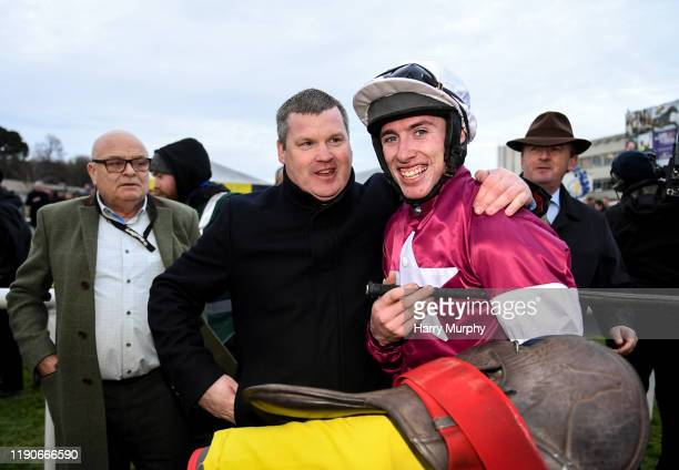 Dublin Ireland 28 December 2019 Jockey Jack Kennedy and trainer Gordon Eliott after sending out Delta Work to win the Savills Chase during Day Three...