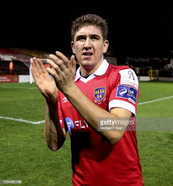 Dublin , Ireland - 28 February 2020; Oscar Brennan of Shelbourne celebrates following the SSE Airtricity League Premier Division match between...