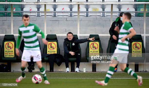 Dublin , Ireland - 28 February 2021; Robbie Keane, a member of the Shamrock Rovers backroom team, issues instructions during the pre-season friendly...