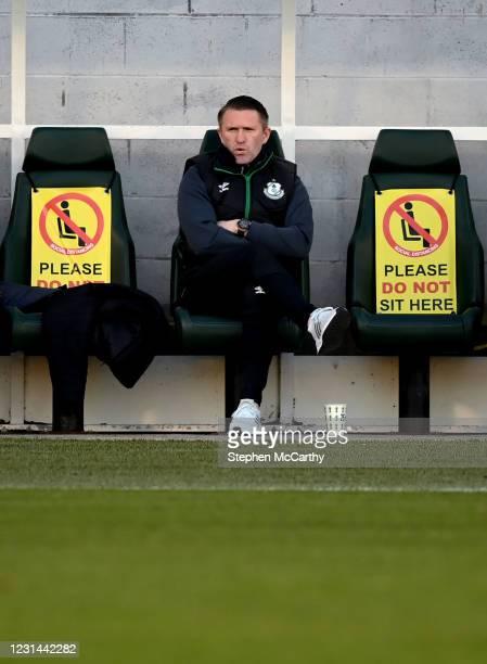 Dublin , Ireland - 28 February 2021; Robbie Keane, a member of the Shamrock Rovers backroom team, during the pre-season friendly match between...