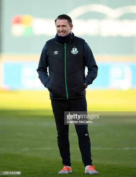 Dublin , Ireland - 28 February 2021; Robbie Keane, a member of the Shamrock Rovers backroom team, before the pre-season friendly match between...