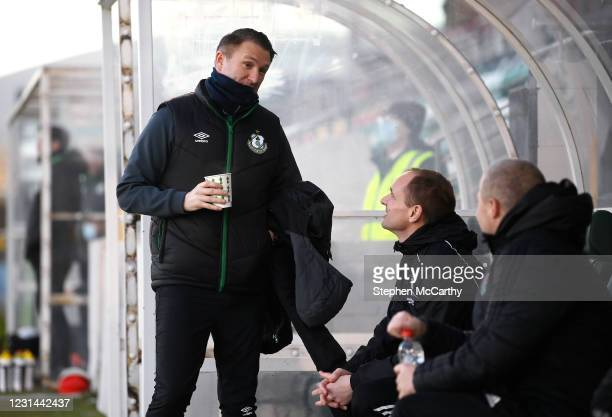 Dublin , Ireland - 28 February 2021; Robbie Keane, a member of the Shamrock Rovers backroom team, speaks with Cork City manager Colin Helay and coach...