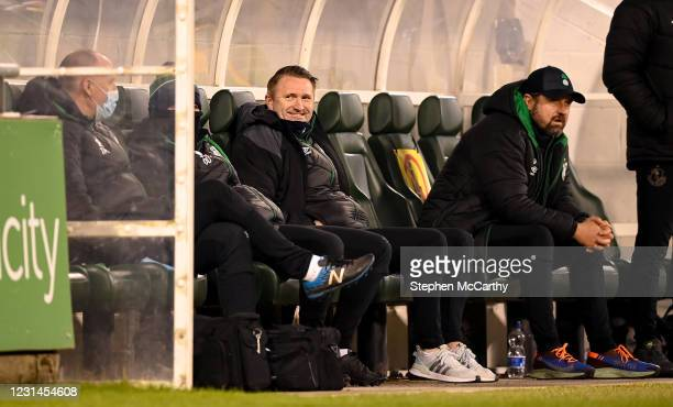 Dublin , Ireland - 28 February 2021; Robbie Keane, a member of the Shamrock Rovers backroom team, and Shamrock Rovers sporting director Stephen...