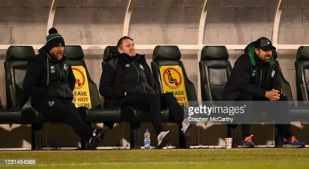 Dublin , Ireland - 28 February 2021; Shamrock Rovers strength & conditioning coach Darren Dillon, left, Robbie Keane, a member of the Shamrock Rovers...
