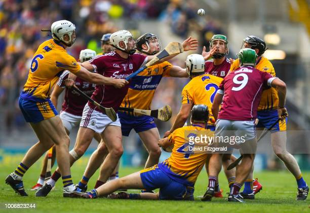 Dublin , Ireland - 28 July 2018; Joe Canning of Galway in action against Tony Kelly of Clare during the GAA Hurling All-Ireland Senior Championship...