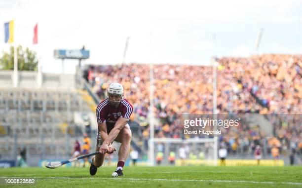 Dublin , Ireland - 28 July 2018; Joe Canning of Galway takes a sideline cut during the GAA Hurling All-Ireland Senior Championship semi-final match...