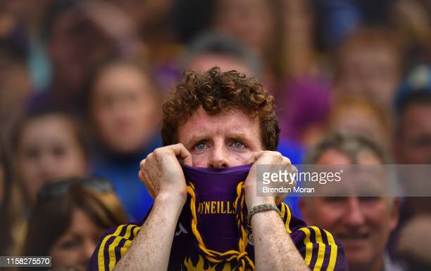 Dublin , Ireland - 28 July 2019; A Wexford supporter watches the closing moments of the GAA Hurling All-Ireland Senior Championship Semi Final match...