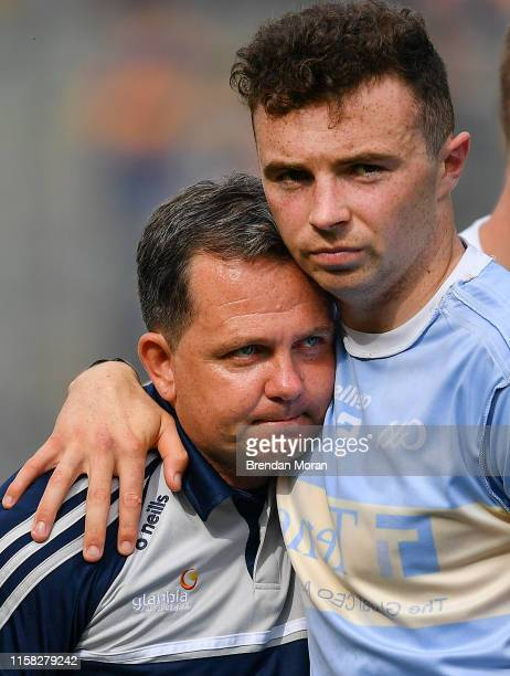 Dublin , Ireland - 28 July 2019; Wexford manager Davy Fitzgerald, left, is consoled by Rory O'Connor after the GAA Hurling All-Ireland Senior...