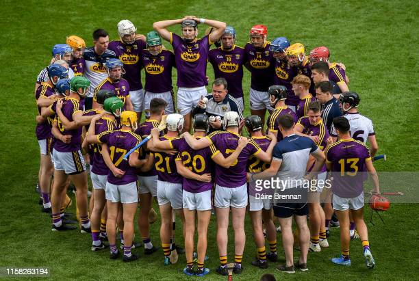 Dublin , Ireland - 28 July 2019; Wexford manager Davy Fitzgerald speaks to his team ahead of the GAA Hurling All-Ireland Senior Championship Semi...