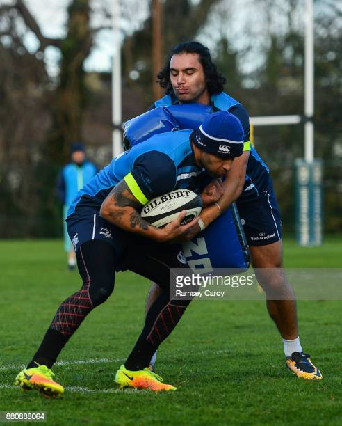Dublin Ireland 28 November 2017 James Lowe above and Isa Nacewa during Leinster rugby squad training at UCD in Dublin