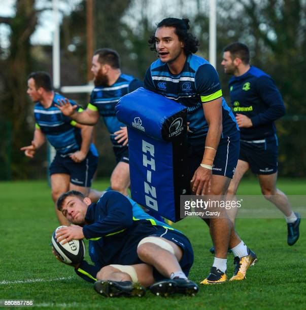 Dublin Ireland 28 November 2017 James Lowe above and Jordi Murphy during Leinster rugby squad training at UCD in Dublin