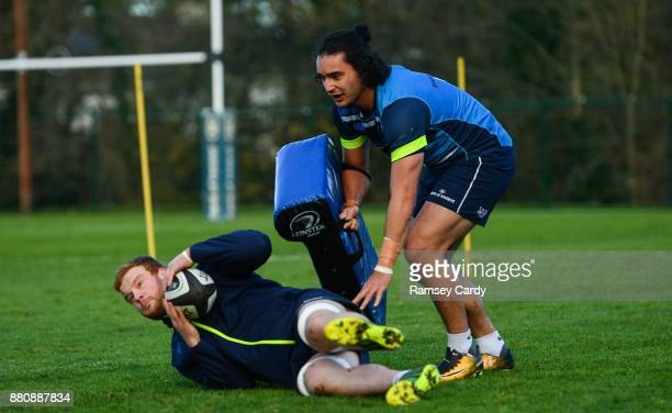 Dublin Ireland 28 November 2017 James Lowe above and Peadar Timmins during Leinster rugby squad training at UCD in Dublin