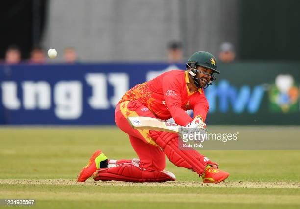 Dublin , Ireland - 29 August 2021; Ryan Burl of Zimbabwe during match two of the Dafanews T20 series between Ireland and Zimbabwe at Clontarf Cricket...