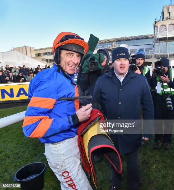 Dublin Ireland 29 December 2017 Davy Russell left with trainer Gordon Elliott after winning the Ryanair Hurdle on day 4 of the Leopardstown Christmas...
