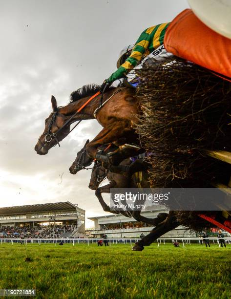 Dublin Ireland 29 December 2019 Runners and riders jump the last duirng the Irish Stallion Farms EBF Novice Handicap Hurdle on Day Four of the...