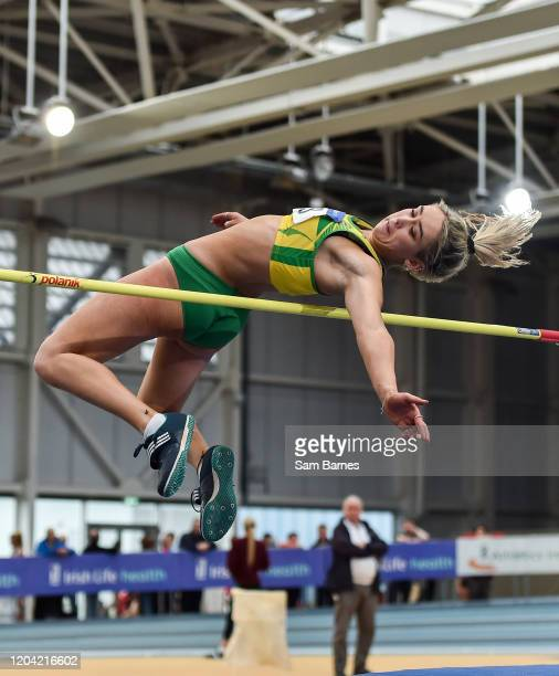 Dublin Ireland 29 February 2020 Amy Mcteggart of Boyne AC Louth competing in the Senior Women'sHigh Jump event during day one of the Irish Life...