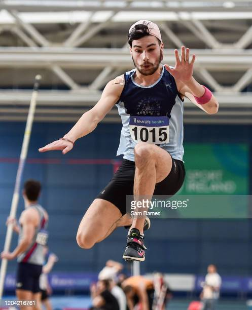 Dublin Ireland 29 February 2020 Jai Benson of Lagan Valley AC Antrim competing in the Senior Men's Triple Jump event during day one of the Irish Life...
