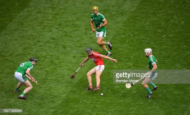 Dublin Ireland 29 July 2018 Darragh Fitzgibbon of Cork is surrounded by Limerick players from left Declan Hannon Dan Morrissey and Cian Lynch of...