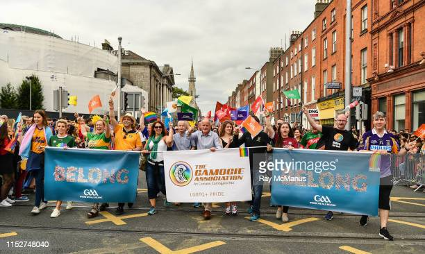 Dublin , Ireland - 29 June 2019; Inter county GAA referee David Gough, former Ladies Football All Star Valerie Mulcahy, singer-songwriter and author...