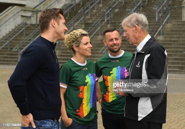 Dublin , Ireland - 29 June 2019; Paul Flynn, Chief executive of the Gaelic Players Association, former Cork GAA star Valerie Mulcahy, former RTÉ...